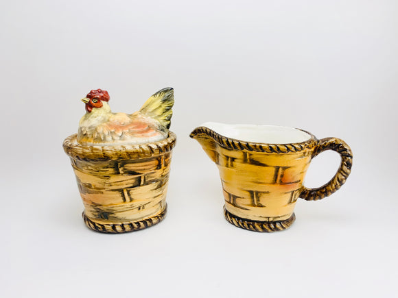 1950's Lefton China, Hen in a Basket Sugar and Creamer Set