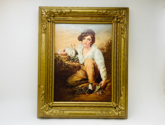 Vintage Boy and Rabbit, Henry Raeburn Wood and Plaster Framed Print