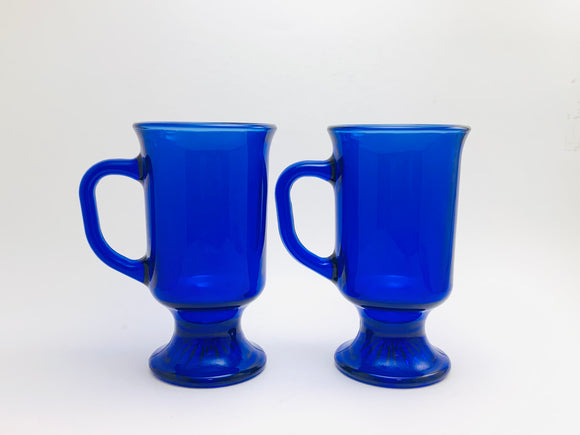 Anchor Hocking Blue Cobalt Glass Footed Mugs