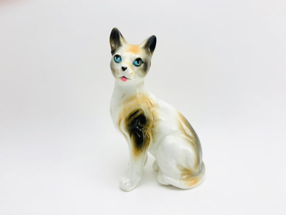 Vintage Calico Cat Porcelain Figurine Japan