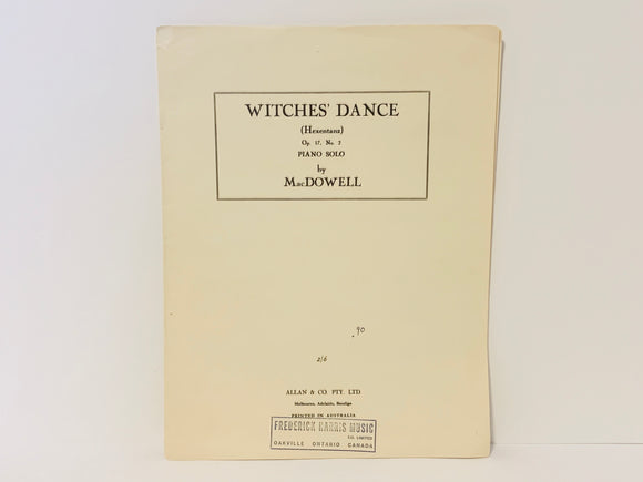 1959 Witches' Dance Piano Solo by MacDowell - Sheet Music