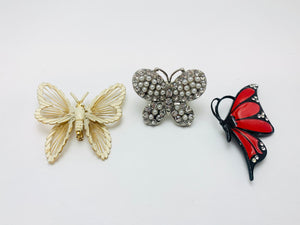 Vintage Butterfly Jewelry, 2 Brooches and Elastic Rhinestone Ring