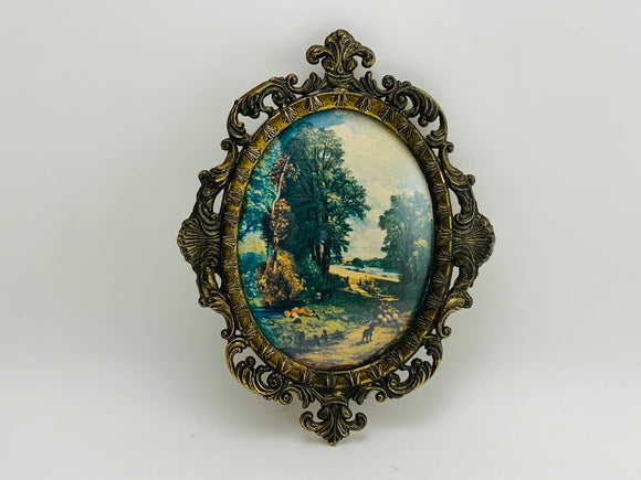SOLD! 1960's Italian Ornate Small Oval Framed Print
