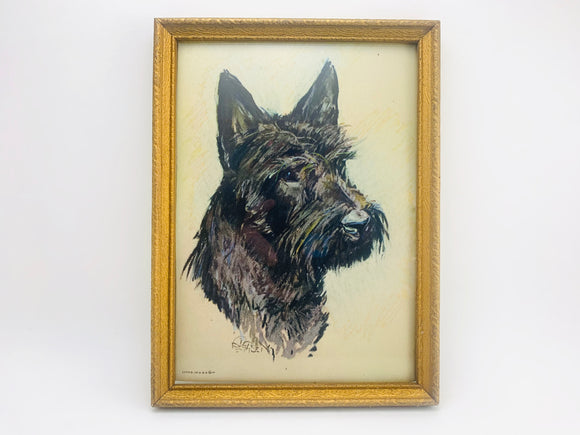 Vintage Small Framed Schnauzer Lithograph