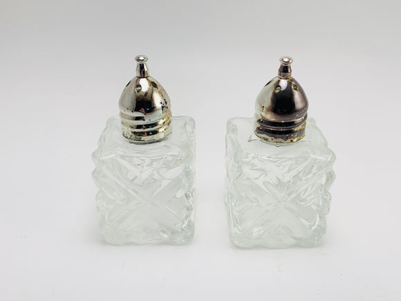1950's Leonard Japan Crystal Cut Glass Miniature Salt and Pepper Shakers