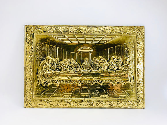 Vintage Last Supper Embossed Metal on Hard Board
