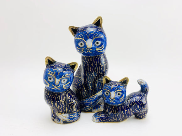 1960's Chinese Cloisonné Cats