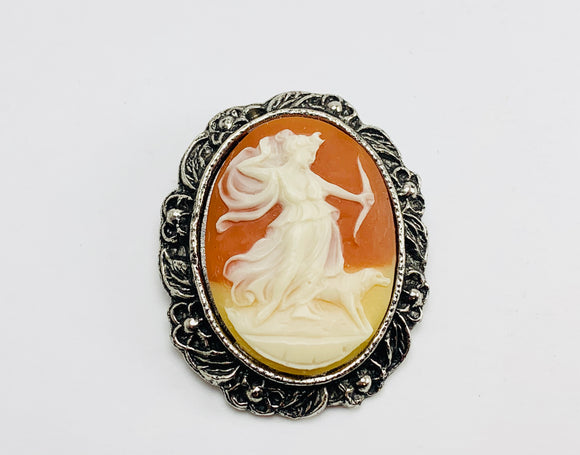 Vintage Artemis, Diana Goddess of the Hunt, Cameo Brooch