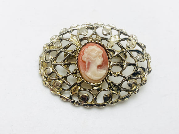 1960's Filigree Cameo Brooch