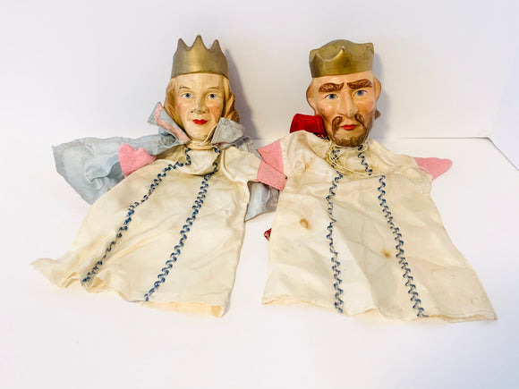 Antique King and Prince Hand Puppets, Composite or Plaster Heads
