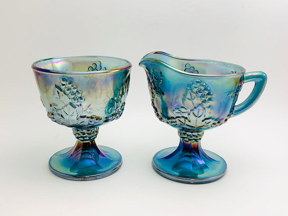 1970's Indiana Carnival Glass, Blue Harvest Cream and Sugar Set