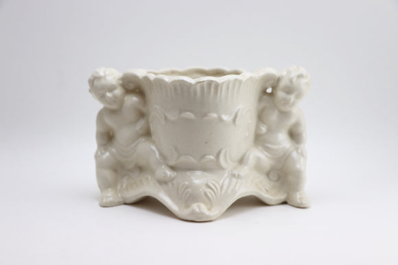 1960's White Cherub Porcelain Planter