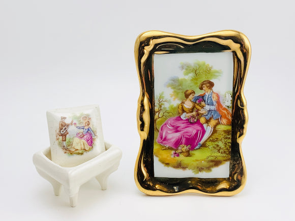 1970's Vintage Limoges France Porcelain Fragonard Picture and Ring Box