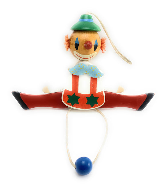 1950's Jumping Jack Wooden Clown Pull Toy