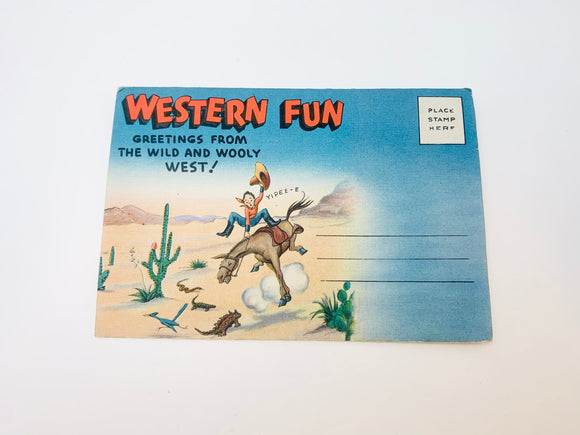 1940-50's Wild West Fold Out Postcard Sanborn Souvenir Co