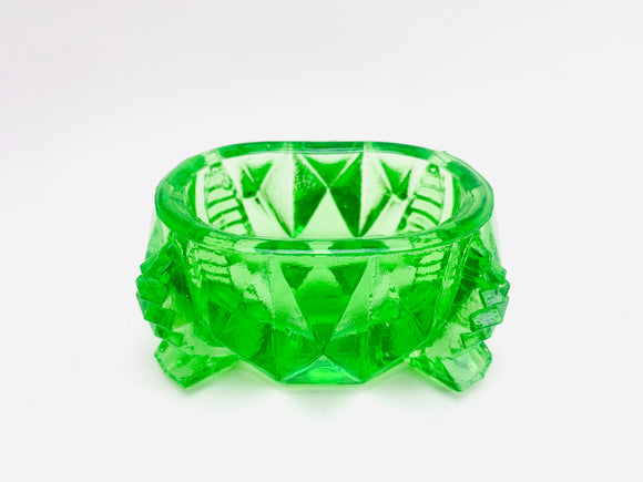 1940's Green Glass Footed Salt Cellar