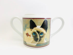 1986 Lowell Herrero Collection Ceramic Cat in the Fish Bowl Double Handled Cup or Sugar Bowl