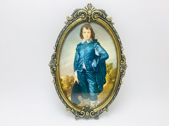 1960's Italian Ornate Metal Framed Blue Boy Print