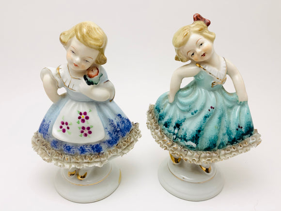 1950's Hand Painted Little Crinoline Girls With Porcelain Lace