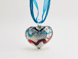 Murano style Lampwork heart pendant necklace