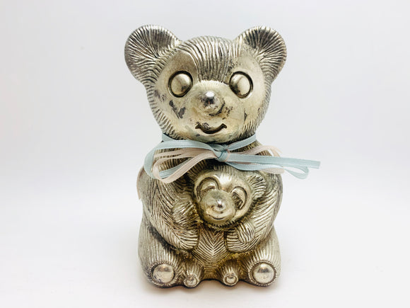 Vintage Silver Metal Bear Piggy Bank
