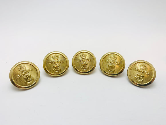 1940-50's 5 Canadian Navy Brass Buttons Firmin London