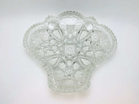 1904 McKee Pres Cut Toltec Crystal Cut Shell Shaped Dish