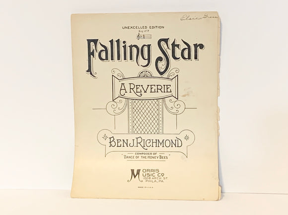 1926 Falling Star, A Reverie, Ben J Richmond, Piano Sheet Music
