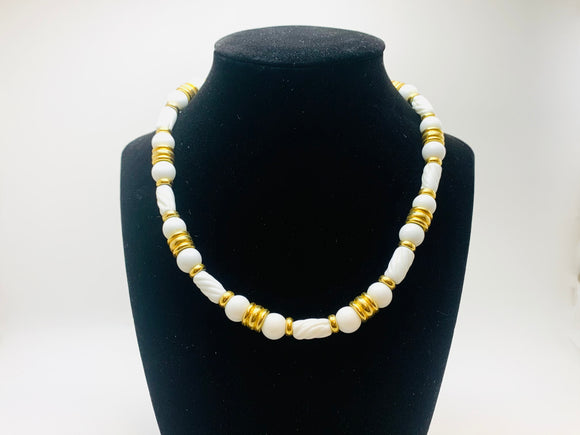Vintage Monet Milk Glass Beaded Choker Necklace