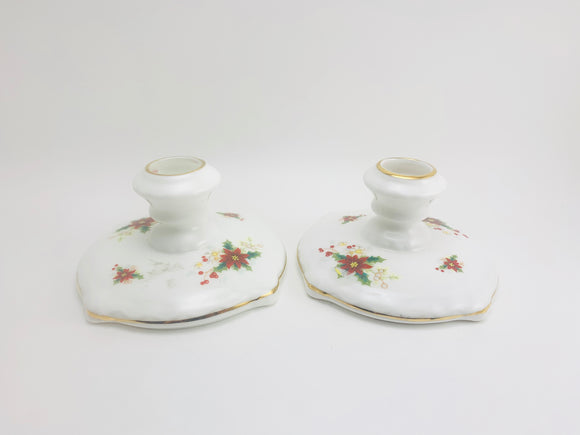 1950's Royal Albert Bone China Poinsettia Candle Stick Holders