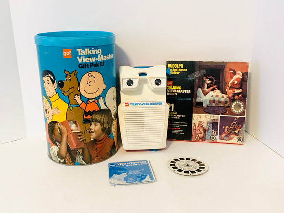 1973 GAF Talking View-Master in Original Package with Extra Set of Rudolph reels in Box