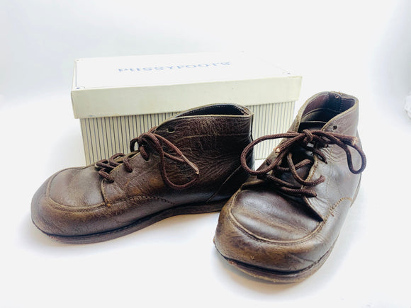 Vintage 50s Pussyfoots Savage Leather Baby Shoes with Original Box