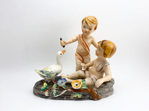 1940's Occupied Japan Porcelain Figurine of 2 Children and a Duck