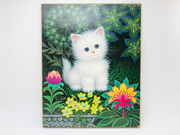 1970's K Chin Kitten Litho on Hardboard