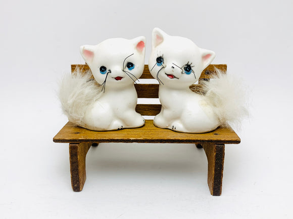 1950's Cat Salt and Pepper Shakers with Real Fur Tails