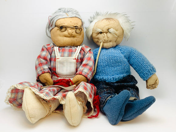 Vintage Grandma and Grandpa Hand Made Pantyhose Dolls