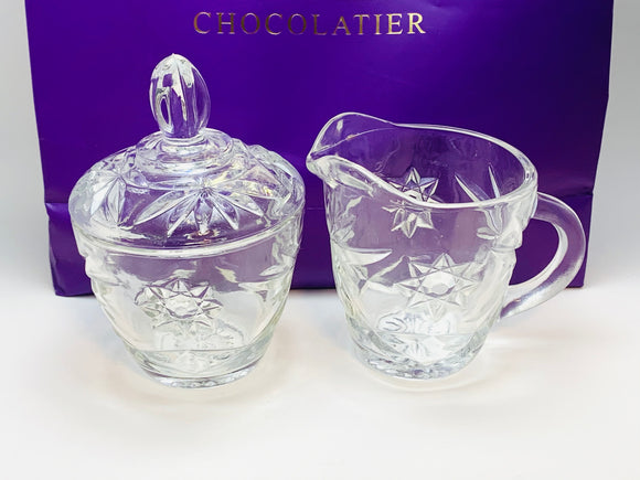 Vintage Glass Lidded Sugar Bowl and Creamer