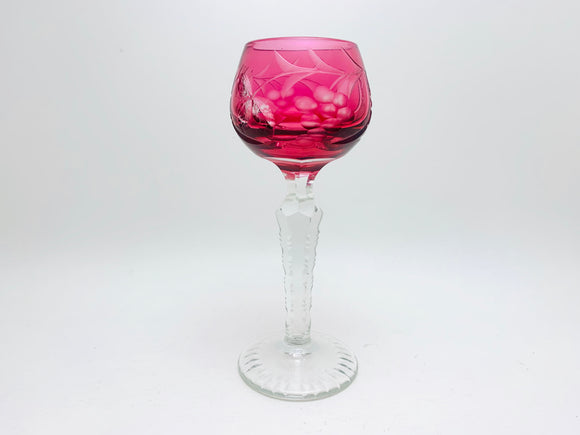 Vintage Cranberry Glass, Bohemian Crystal Cut Etched Wine Glass