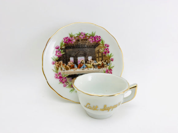 Vintage Miniature Last Supper Tea Cup and Saucer