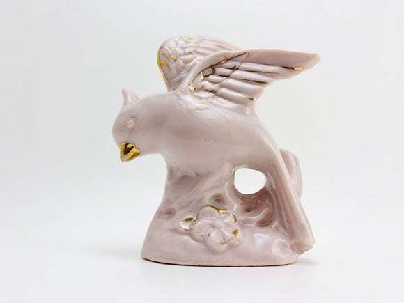 1950's Pink Ceramic Bird With Gold Highlights