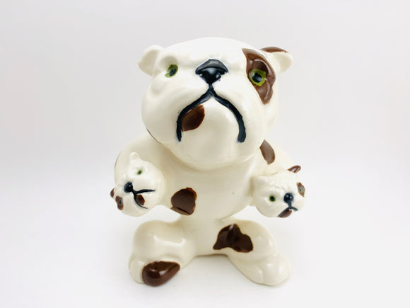 Vintage Bulldog and Puppies Porcelain Figurine