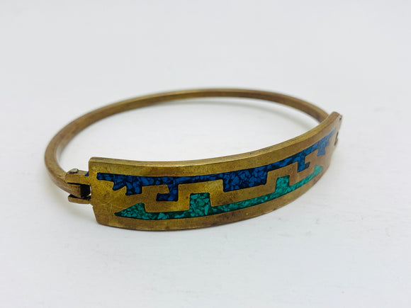 Brass Hook Hinge Bangle Bracelet with Turquoise Stone Inlay
