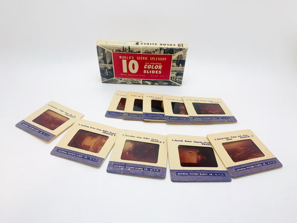 Vintage France World's Scenic Splendor Set of 10 2x2 Colour Slides