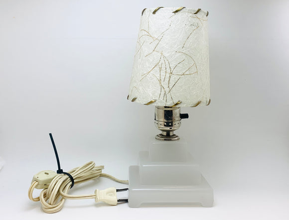 Vintage Milk Glass Lamp with Fibreglass Shade