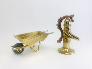 Vintage Brass Wheelbarrow and water Pump Dollhouse Miniatures