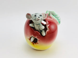 1950's Giftcraft Japan Porcelain Mouse in an Apple