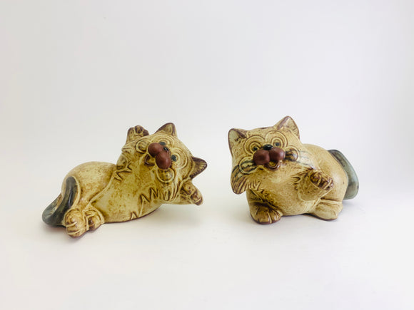 Vintage Redware Pottery Cat Salt and Pepper Shakers