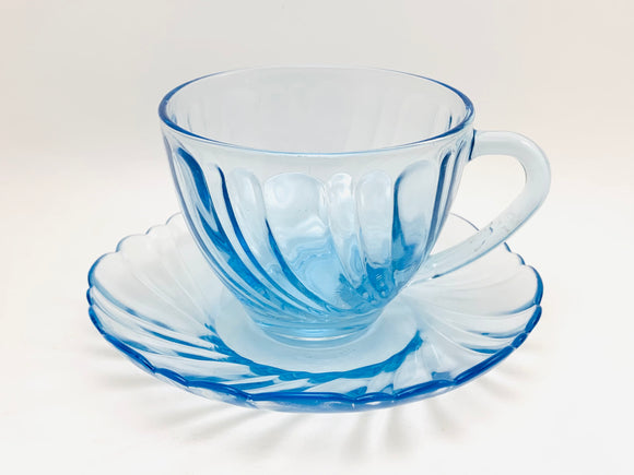 Vintage KIG Indonesia Ice Blue Glass Tea Cup and Saucer