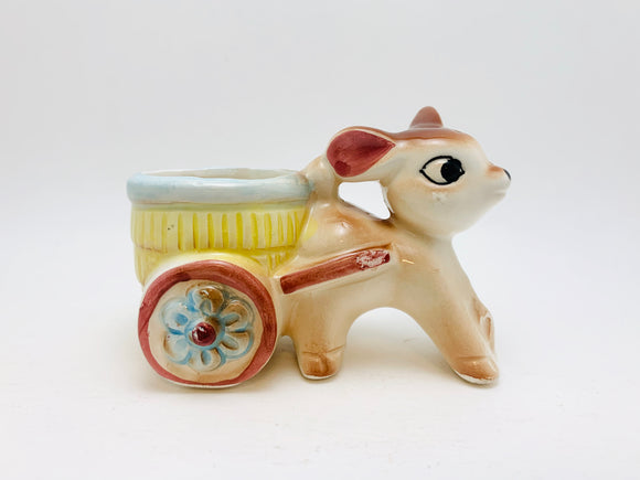 1950's Deer Pulling Cart Porcelain Toothpick Holder Foreign Japan