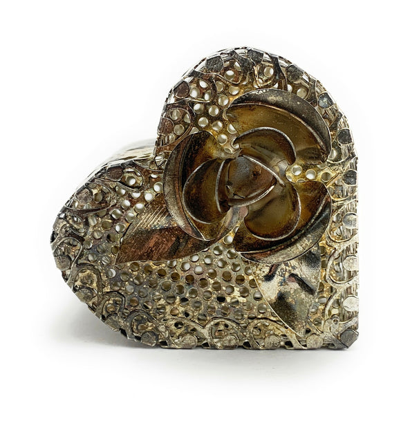 Vintage Heart Shaped Filigree Star EP Steel Trinket Box